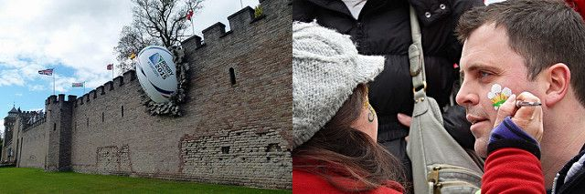 Cardiff Castle rugby ball & Welsh rugby fans images