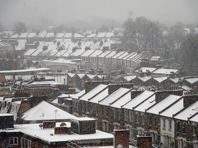 Snow on roofs photo