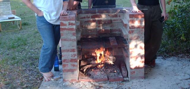 Old brick BBQ grill photo